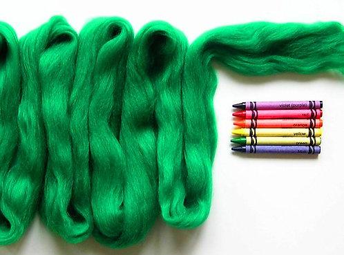 Kelly Green Merino Wool Roving   1 oz
