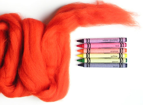 Firey Orange Corriedale Wool Roving   1 oz.