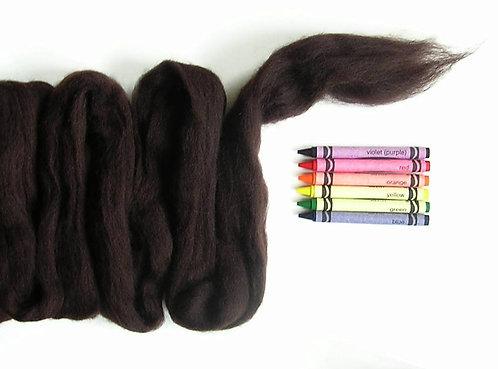 Dark Chocolate Corriedale Wool Roving   1 oz.