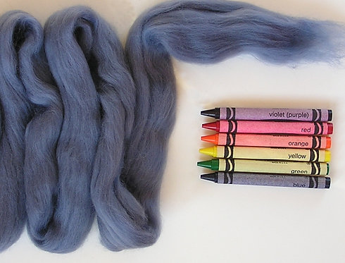 Blue Gray Merino Wool Roving   1 oz