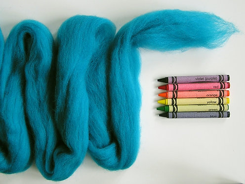 Really Turquoise Corriedale Wool Roving   1 oz.