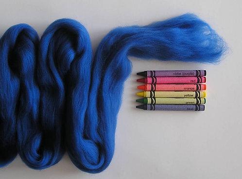 Royal Blue Merino Wool Roving   1 oz
