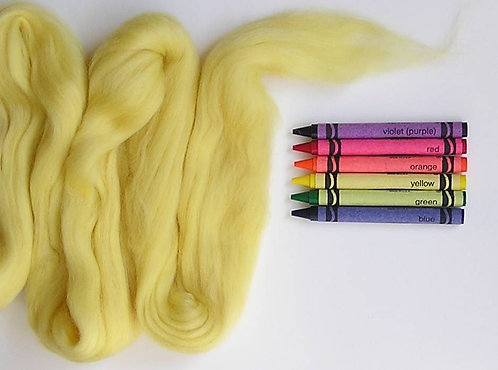 Pale Yellow Merino Wool Roving   1 oz