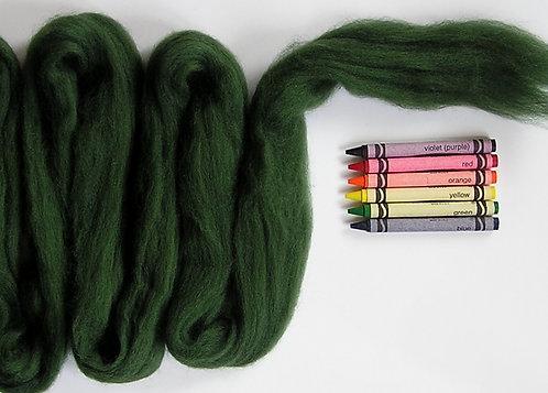 Fern Green Corriedale Wool Roving   1 oz.