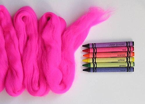 Hot Pink Merino Wool Roving   1 oz