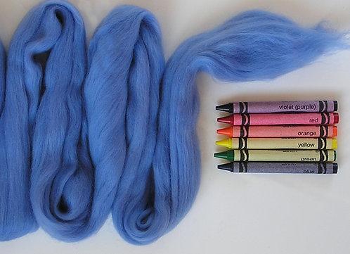 Country Blue Merino Wool Roving   1 oz