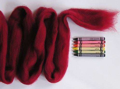 Dark Cherry Corriedale Wool Roving   1 oz.