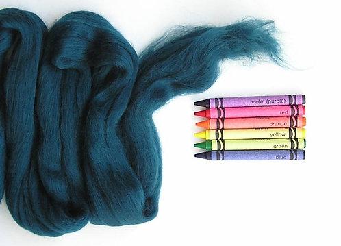 Dark Jade Merino Wool Roving   1 oz