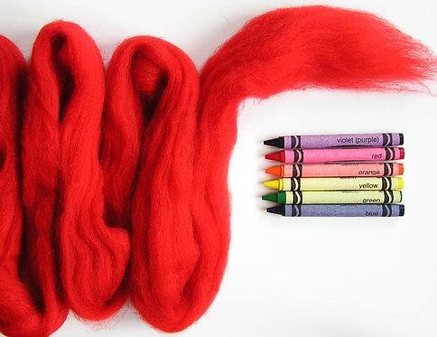 Red Hot Pepper Corriedale Wool Roving   1 oz.