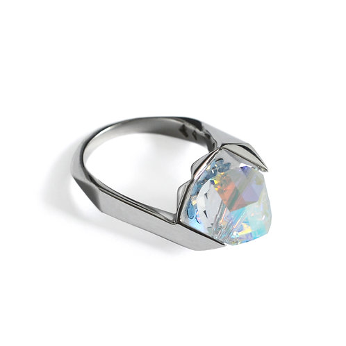 IN Visible Ring, White Gold Plated with Swarovski