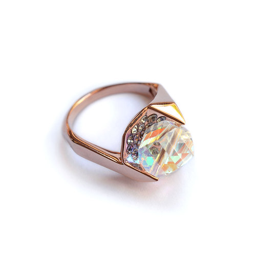 IN Visible Ring, Pink Gold Plated with Swarovski