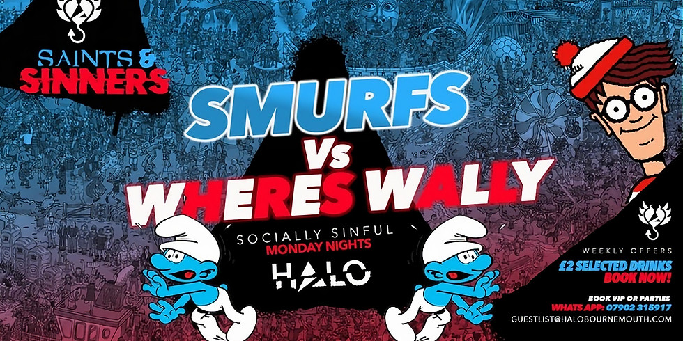 Halo Mondays Where's Wally vs Smurfs - 28/09 - Saints & Sinners //// Drinks from £1.50 - Bournemouth's Biggest Student N