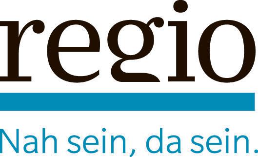 Logo der Gratiszeitung regio. Schwarze serife Schrift, darunter ein blauer Strich.