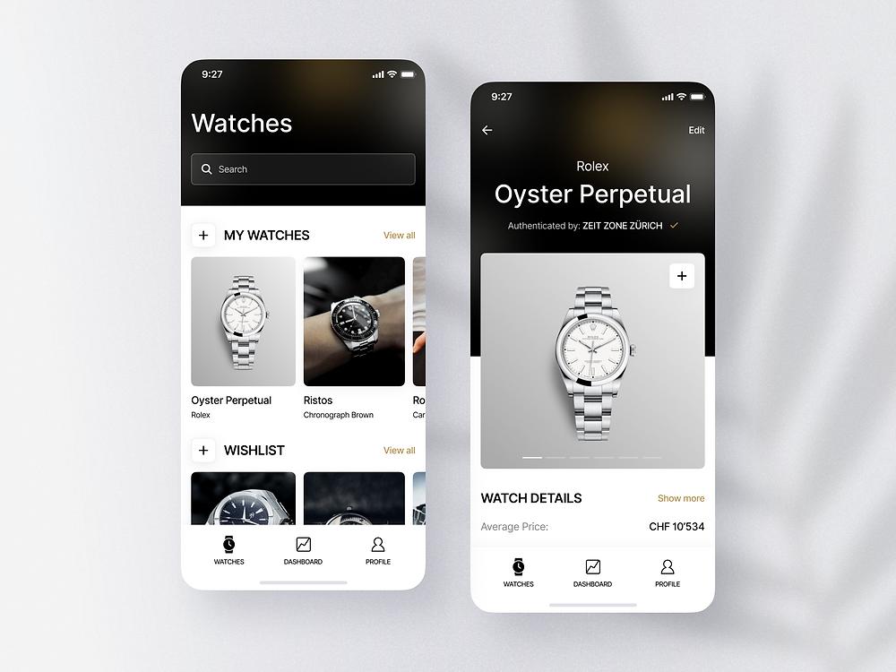 Adresta. Luxury watch collection app by Nick Zaitsev - Blitz Creatives