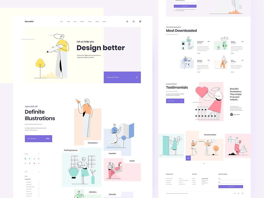 Illustration Set Concept Landing Page - Blitz Creatives