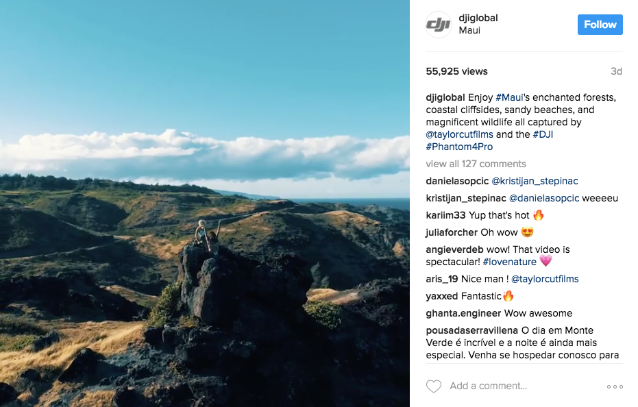 Example of a drone company doing social media marketing on Instagram - Blitz Creatives