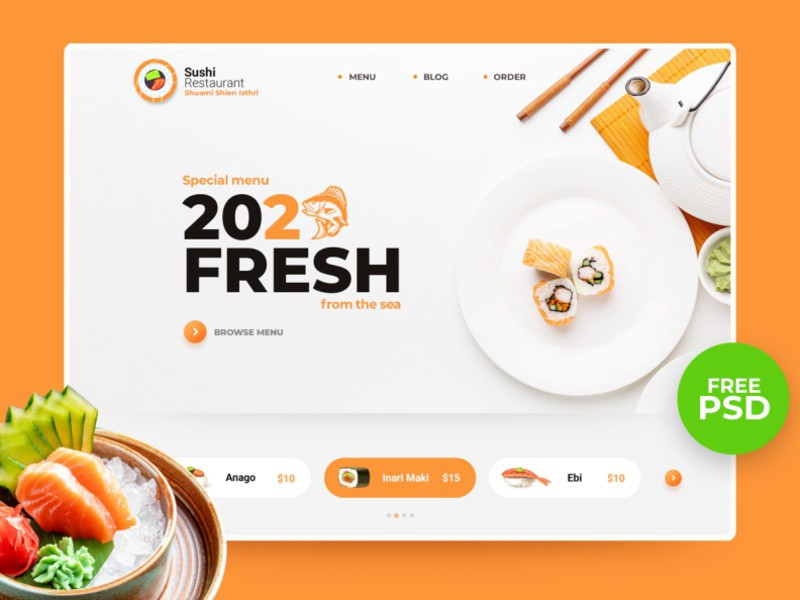 Orange Sushi Restaurant Template Website - Blitz Creatives