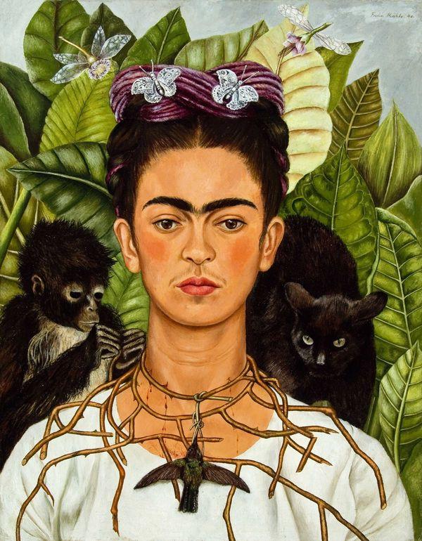 FRIDA KAHLO (1907-1954) 'Self Portrait with Thorn Necklace and Hummingbird' 1940 (tranh sơn dầu trên chất liệu canvas) - Blitz Creatives