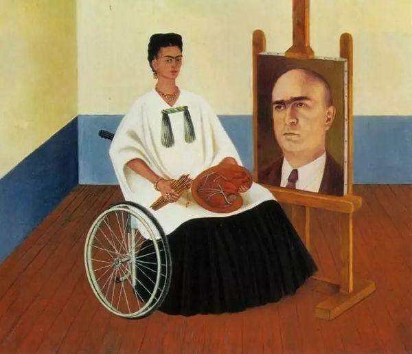 FRIDA KAHLO (1907-1954) 'Self Portrait with the Portrait of Doctor Farill', 1951 (tranh sơn dầu trên giấy bồi) - Blitz Creatives