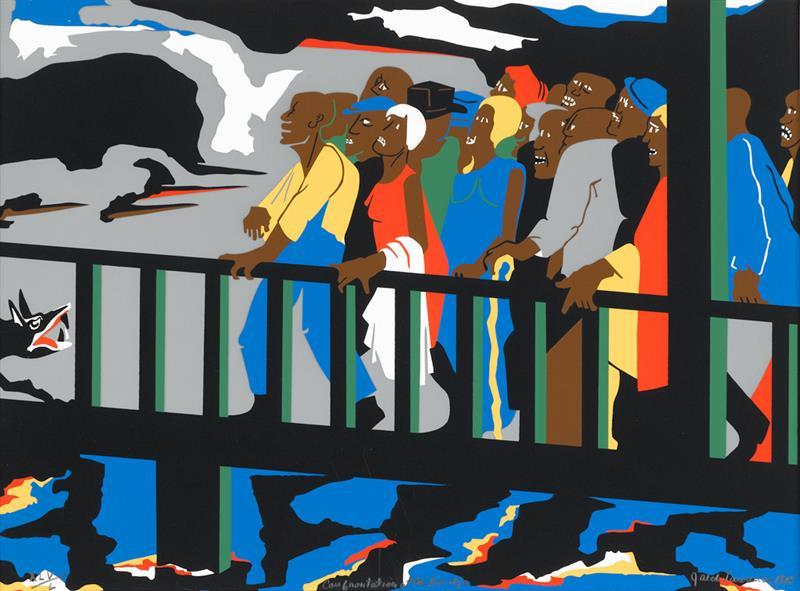 Confrontation at the Bridge của Jacob Lawrence - Blitz Creatives