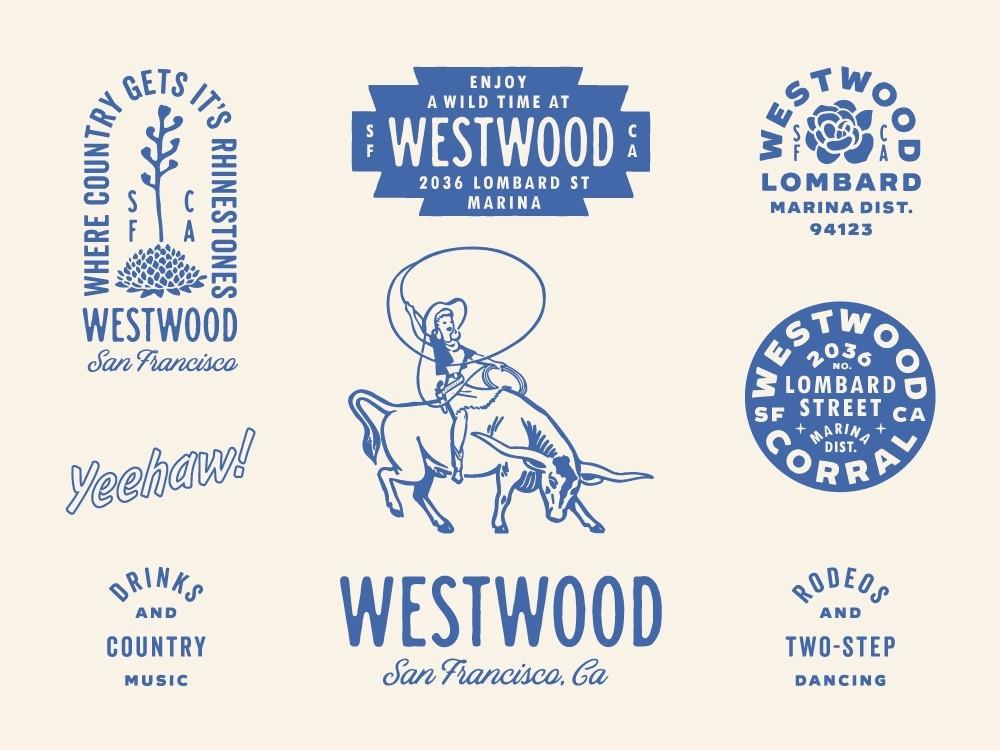 Bộ nhận diện thương hiệu của quán bar Westwood – thiết kế bởi Nicola Broderick - Blitz Creatives