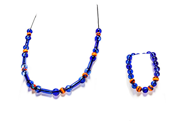 Cobalt with Fire Accents Necklace and Bracelet Set
