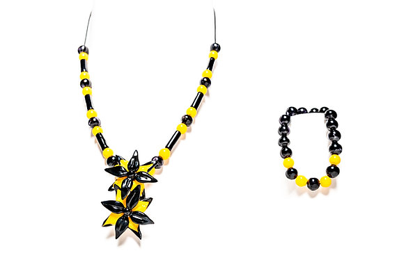 Black and Yellow Flower Necklace/Bracelet Set