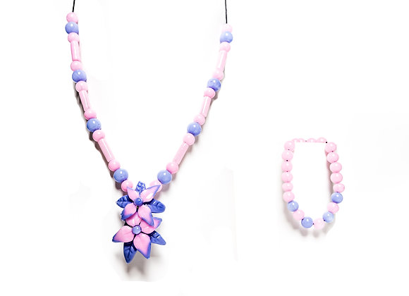 Bubblegum Pink & Lavender Flower Necklace/Bracelet Set