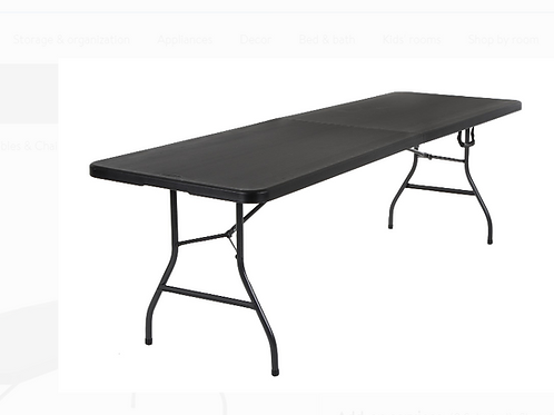 Used Cosco 8 Foot Centerfold Folding Table, Black