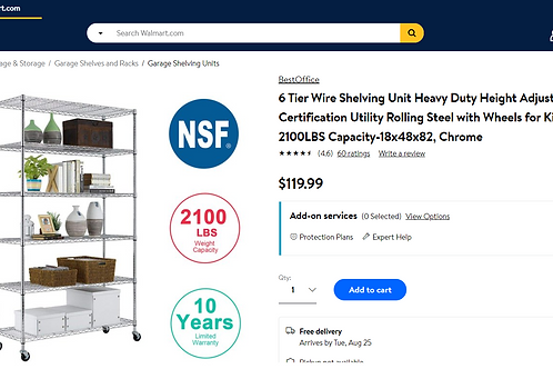 6 Tier Wire Shelving Unit Heavy Duty Height Adjustable NSF Certification Utility