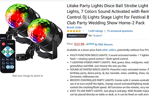Litake Party Lights Disco Ball Strobe Light Disco Lights