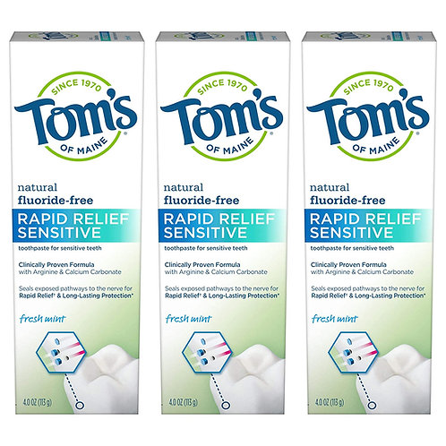 Tom's of Maine Fluoride-Free Rapid Relief Sensitive Toothpaste (3 Pack)