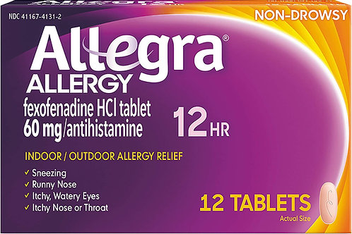 Allegra Adult Non-Drowsy Antihistamine Tablets for 12-Hour Allergy Relief