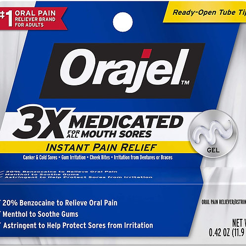 Orajel 3X for Mouth Sores Maximum Strength Gel Tube