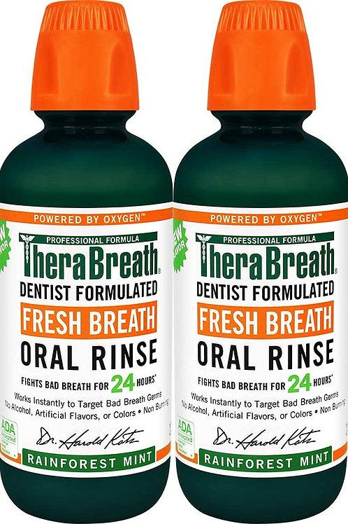 TheraBreath Fresh Breath Oral Rinse, Rainforest Mint (2 Pack)