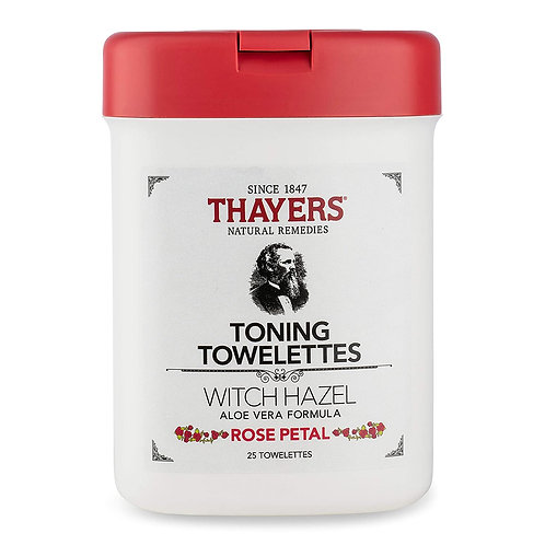 THAYERS Alcohol Free Toning Towelettes with Aloe Vera, 25 Count