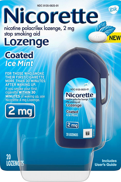 Nicorette 2mg Nicotine Lozenges to Quit Smoking, Ice Mint Flavored (20 Count)