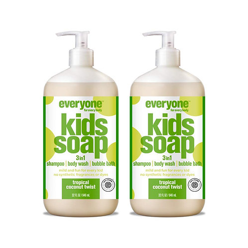 Everyone 3-in-1 Kids Soap, Tropical Coconut Twist (2 Pack)