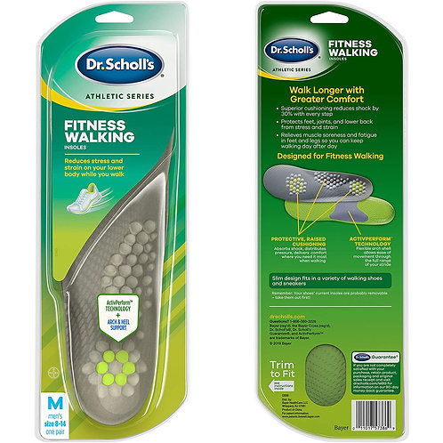 Dr. Scholl's FITNESS WALKING Insoles for Men's size 8-14