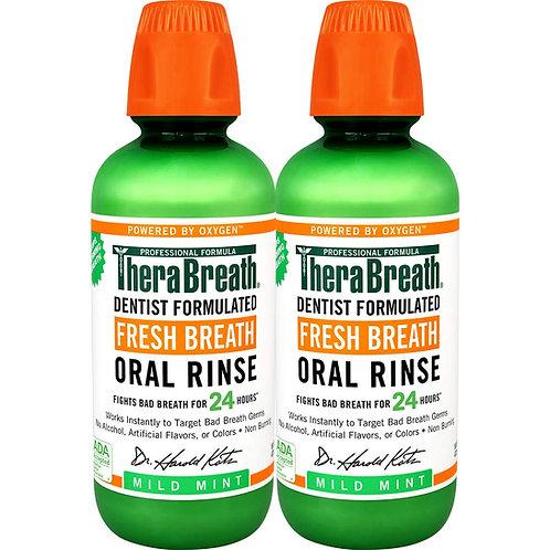 TheraBreath Fresh Breath Oral Rinse, Mild Mint (2 Pack)