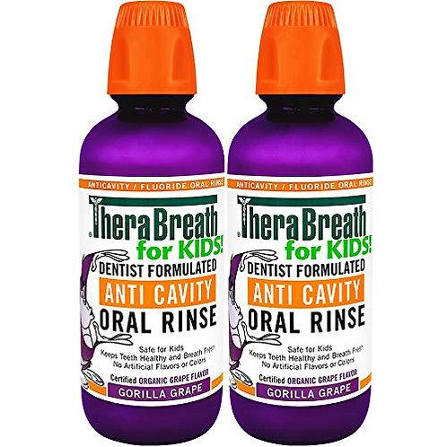 TheraBreath Kids Anti-cavity Oral Rinse, Organic Gorilla Grape Flavor (2 Pack)