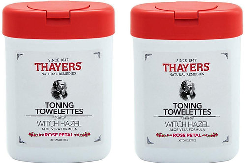 THAYERS Natural Remedies Toning Witch Hazel Rose Petal Towelettes (2 Pack)