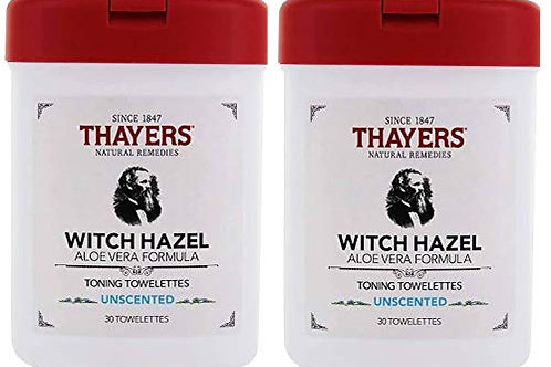 THAYERS Unscented Toning Witch Hazel Towelettes with Aloe (2 Pack)