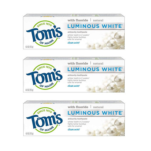 Tom's of Maine Natural Luminous White Toothpaste with Fluoride (3 Pack)