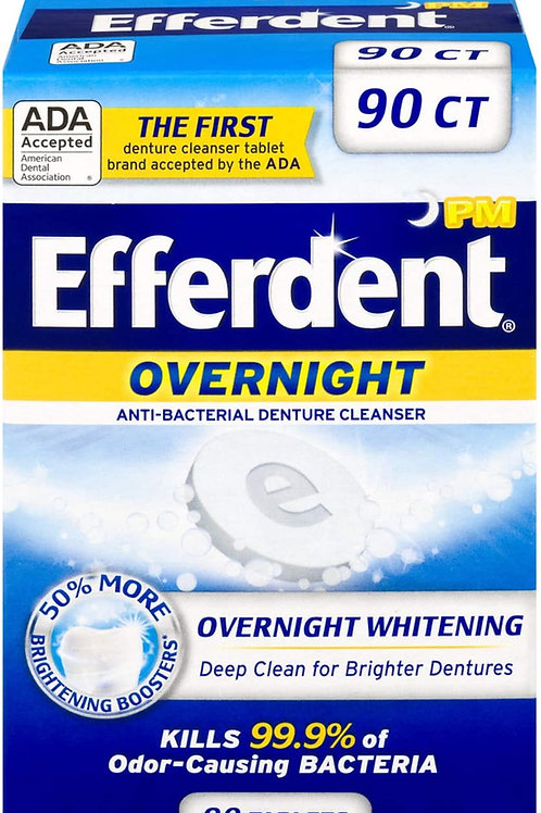 Efferdent PM Denture Cleanser Tablets, Overnight Whitening, 90 Count