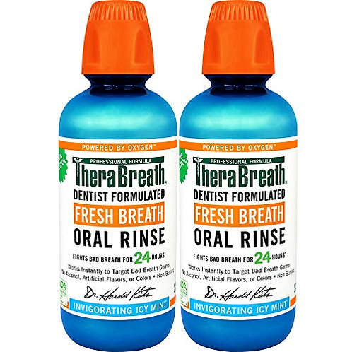 TheraBreath Gluten-Free Fresh Breath Oral Rinse, Icy Mint (2 Pack)