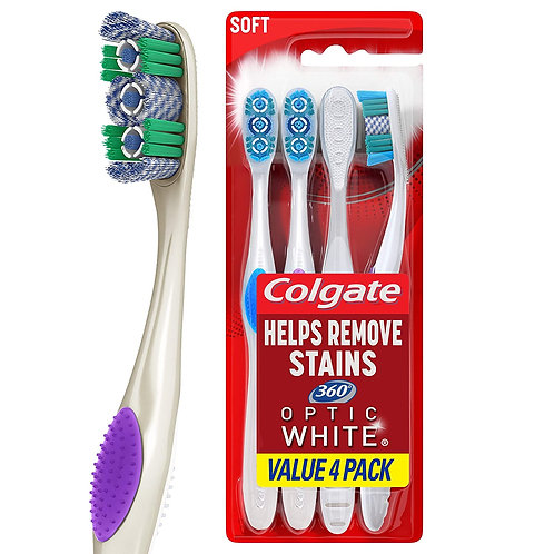 Colgate 360 Optic White Whitening Toothbrush (4 Count)