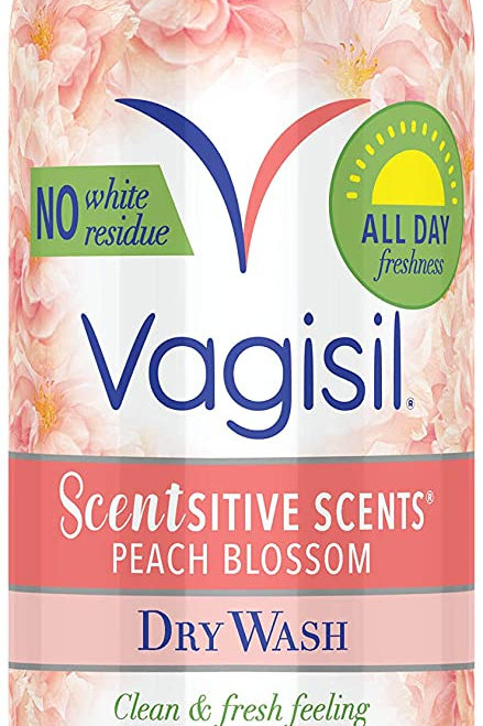 Vagisil Scentsitive Scents Feminine Dry Wash Deodorant Spray, Peach Blossom
