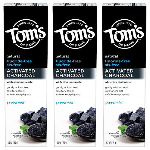 Tom's of Maine Fluoride-Free Activated Charcoal Whitening Toothpaste (3-Pack)