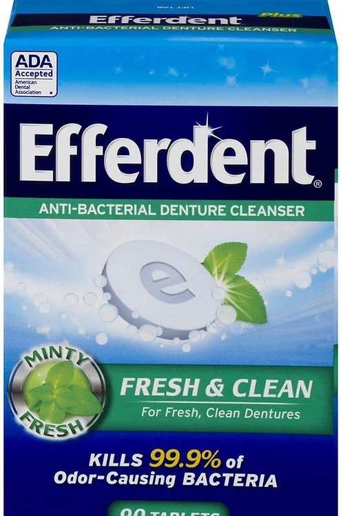 Efferdent Plus Mint Anti-Bacterial Denture Cleanser, 90 Tablets